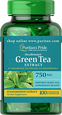 Puritan's Pride Decaffeinated Green Tea Standardized Extract 750 mg-100 Capsules