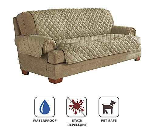 Serta | Quilted Ultra Suede Waterproof Furniture Protector, Pet Safe & Stain Resistant (Sofa, Camel) Camel Suede Pet Bed