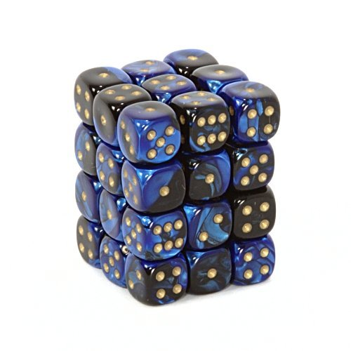 Chessex Dice d6 Sets: Gemini Black & Blue with Gold - 12mm Six Sided Die (36) Block of Dice