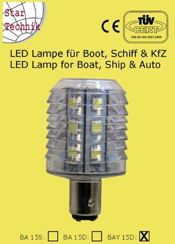 24 SMD IP LED Lampe mit Schutzkapsel, wasserfest (IP65) für BAY-15D Sockel 12V 24V - Lampe für Boot, Schiff Marine Beleuchtung Positionsleuchten Verbrauch nur 4W Verbrauch 280 - 320lm 10 - 30 Volt BAY 15D Startechnik 24-SMD-IP-BAY