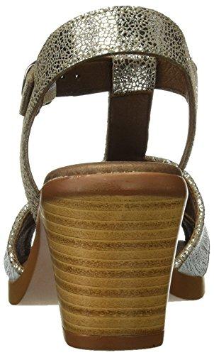 Tienda Calidad 11303, Sandalias con Plataforma para Mujer Plateado (Acero / Plata)