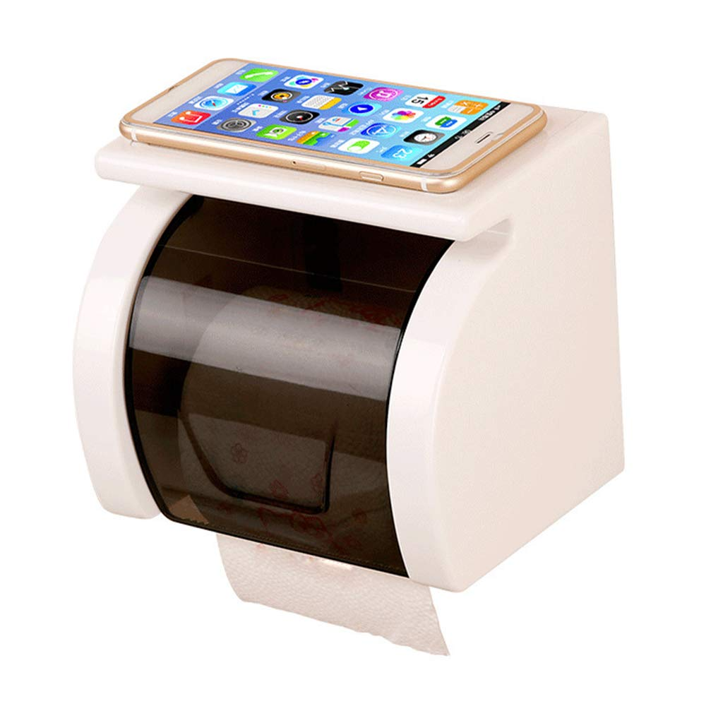 ERT Paper Towel Dispenser, Suction Cup Plastic Waterproof Roll Holder Tissue Box Tissue Dispenser Wall-Mounted Dust-Proof