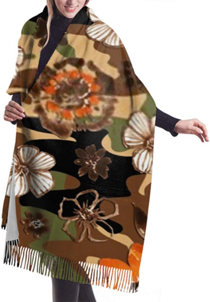 Classic Cashmere Feel Unisex Winter Scarf Hand Painting Abstract Watercolor Flowers Leaves Long Large Warm Scarves Wrap Shawl Stole