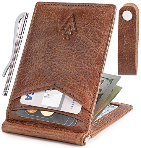 Men's Leather RFID Money Clip Slim Wallet with Leather Keychain (Mahogany, Genuine Leather) - Mahogany Money Clip