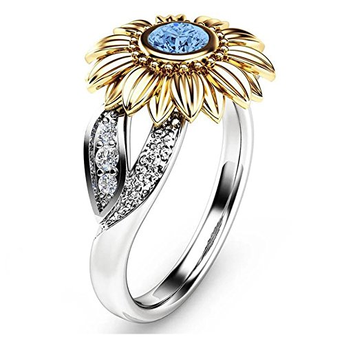 Two Tone Locket - YOUNICE Women Two Tone Silver Floral Ring Diamond Gold Sunflower Jewelry Mother Gift