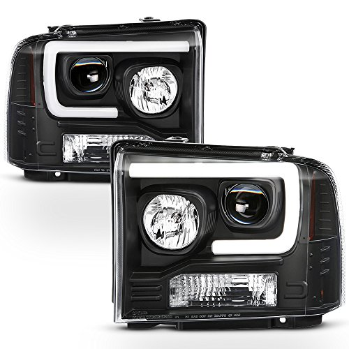 ACANII - For Black 2005 2006 2007 Ford F250 F350 F450 Superduty LED Tube Projector Headlights Driver & Passenger Side