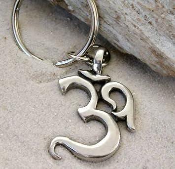 Pewter Ohm Om Yoga Buddhist Namaste Keychain Key Tag