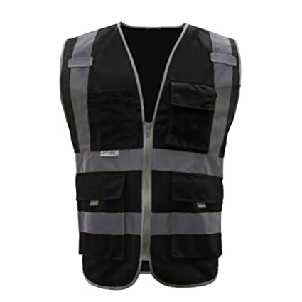 GOGO 9 Pockets High Visibility Zipper Front Safety Vest With Reflective  Strips 6cc4a946a1b