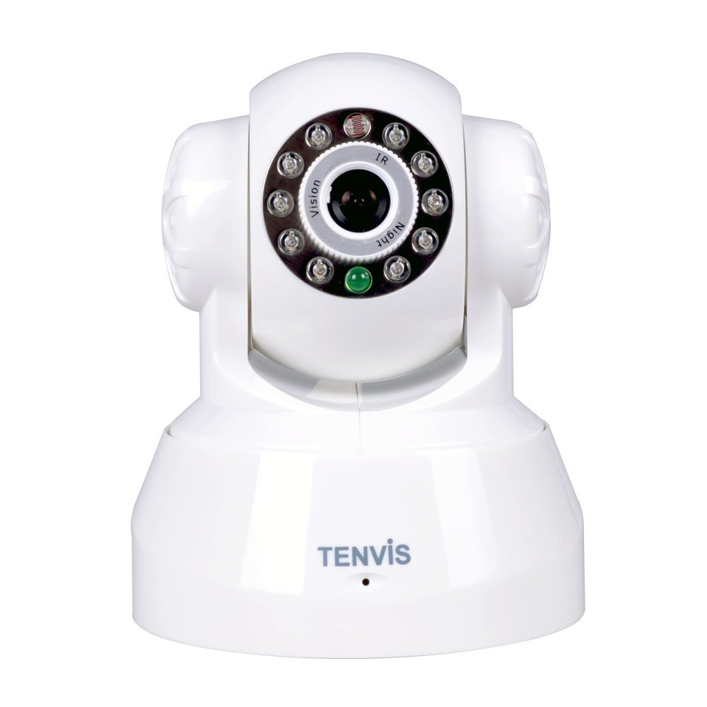 TENVIS JPT3815W Wireless IP Pan//Tilt// Night Vision Internet Surveillance Camera Built-in Microphone With Phone remote monitoring support White
