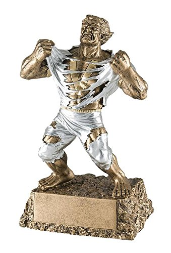 Small 6.75 Inch Tall Monster Victory Trophy - Gold & Silver Finish - Includes attached Engraved Plates - Perfect Award Trophy - Hand Painted Design - Heavy Resin Casting - Great for Recognition - Prize Winning Halloween Costumes For Adults