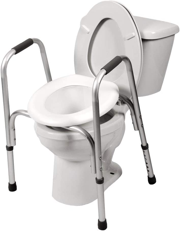 PCP Raised Toilet Seat and Safety Frame (Two-in-One), Adjustable Rise Height, Secure Elevated Lift Over Bowl, Made in USA