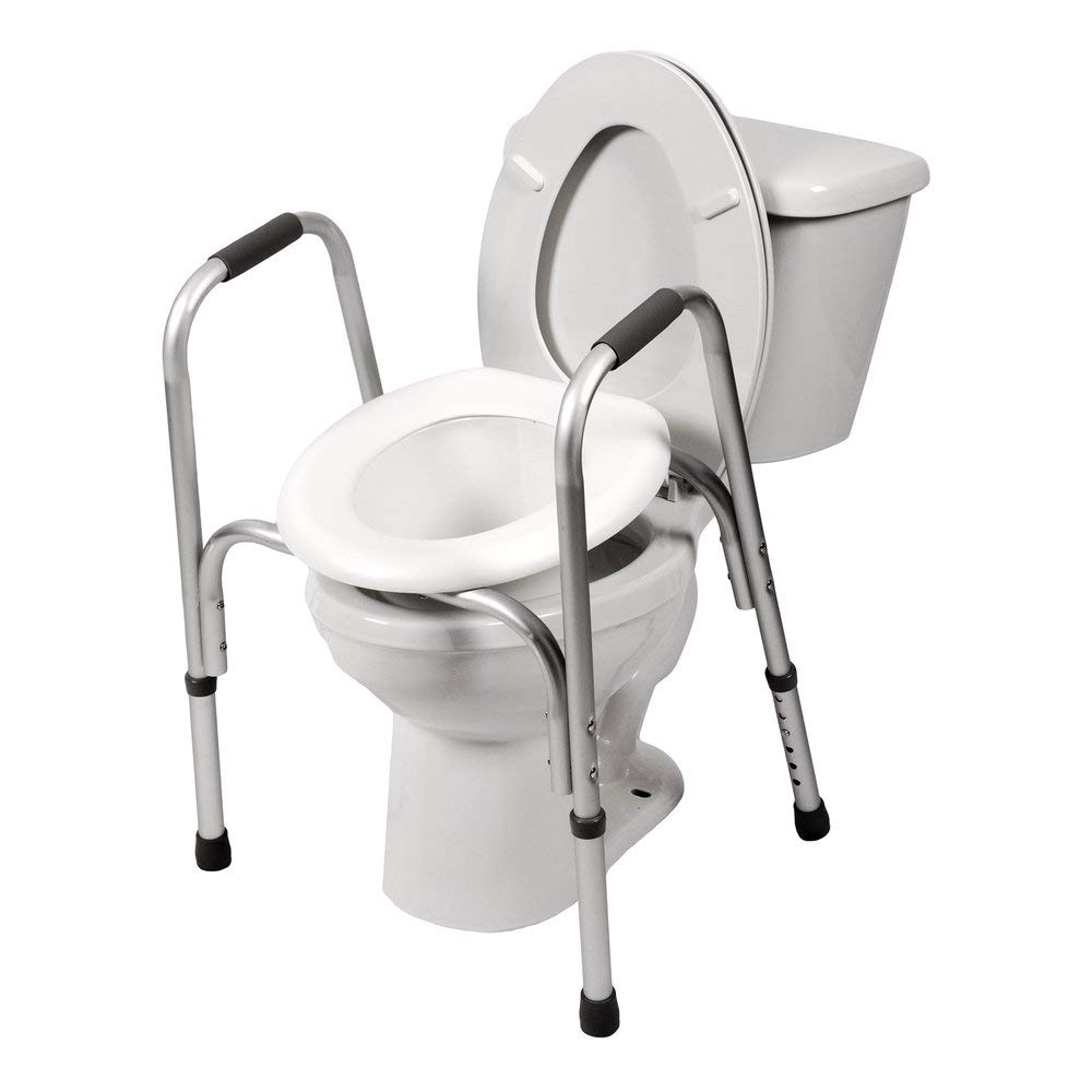 PCP Raised Toilet Seat and Safety Frame (Two-in-One), Adjustable Rise Height, Secure Elevated Lift Over Bowl, Made in USA by PCP