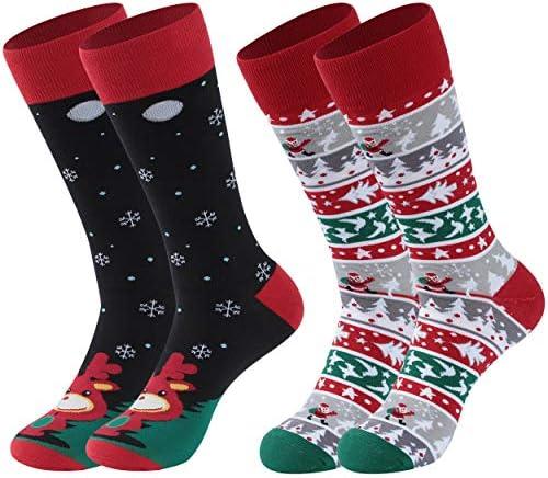 Bun Large Christmas Cotton Crew Socks Unisex Holiday Socks Novelty Christmas Gift Socks for Children Teens Adults
