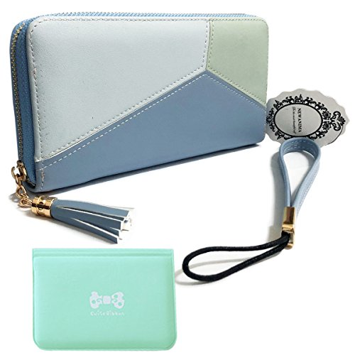 - Wallet-NEWANIMA Women Multi-card Long Clutch PU Leather Fashion Purse Lady Handbag Bag With Credit Card Holder(Style2-Blue)