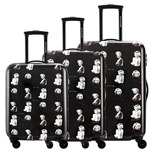 DAVIDJONES PC Print 3 Piece Spinner Luggage Set, Medium-Marilyn Black (Marilyn Monroe Luggage)