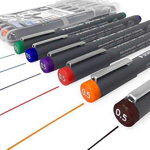 Staedtler 308 Pigment Liner Fineliner – 0.5mm - Wallet of 6 Assorted ()