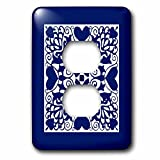 3dRose Russ Billington Designs - Hearts and Flowers Tile Design in Blue and White - Light Switch Covers - 2 plug outlet cover (lsp_262267_6)
