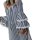 Kimloog Women Stripe Off Shoulder Layered Bell Tassel Sleeve Ruffle Casual Short Mini Dress Beach Party Sundress (L, Black)