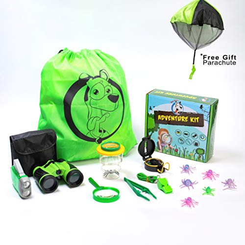 (Roxy Supply Adventure Set for Kids - Educational Playsets STEM Outdoor Kids Toys for Boys & Girls with Backpack, Binoculars, Compass, Flashlight, Whistle, & More - Cool Kids Toys Nature Explorer Kit )