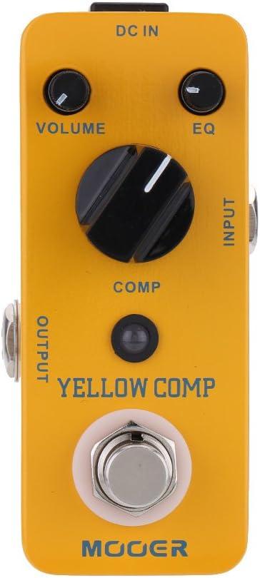 Muslady Mooer Optical Compressor Pedal de Efecto para Guitarra Eléctrica Comp Micro Mini True Bypass,Amarillo