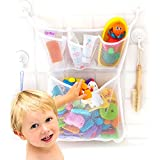 "Bath Toy Organizer -The Original Tub Cubby - Large 14x20"" Quick Dry Bathtub Mesh Net - Massive Baby Toy Storage Bin + 3 Soap Pockets - 2X Locking Suction Cup Hooks + 4X Adhesive Hooks"