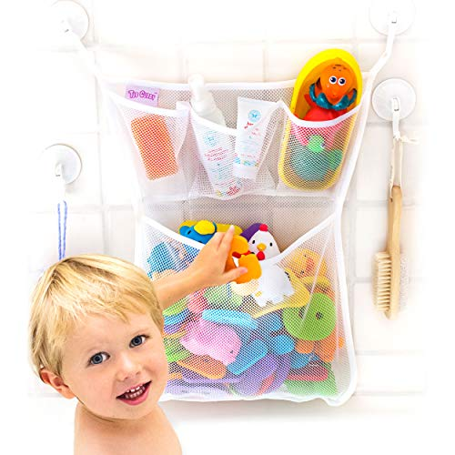"Bath Toy Organizer -The Original Tub Cubby - Large 14x20"" Quick Dry Bathtub Mesh Net - Massive Baby Toy Storage Bin + 3 Soap Pockets - New 3M Stickers and - Net Infant Tub Bath"