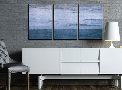 wall26 - 3 Piece Canvas Wall Art - Blue Color Abstract Artwo