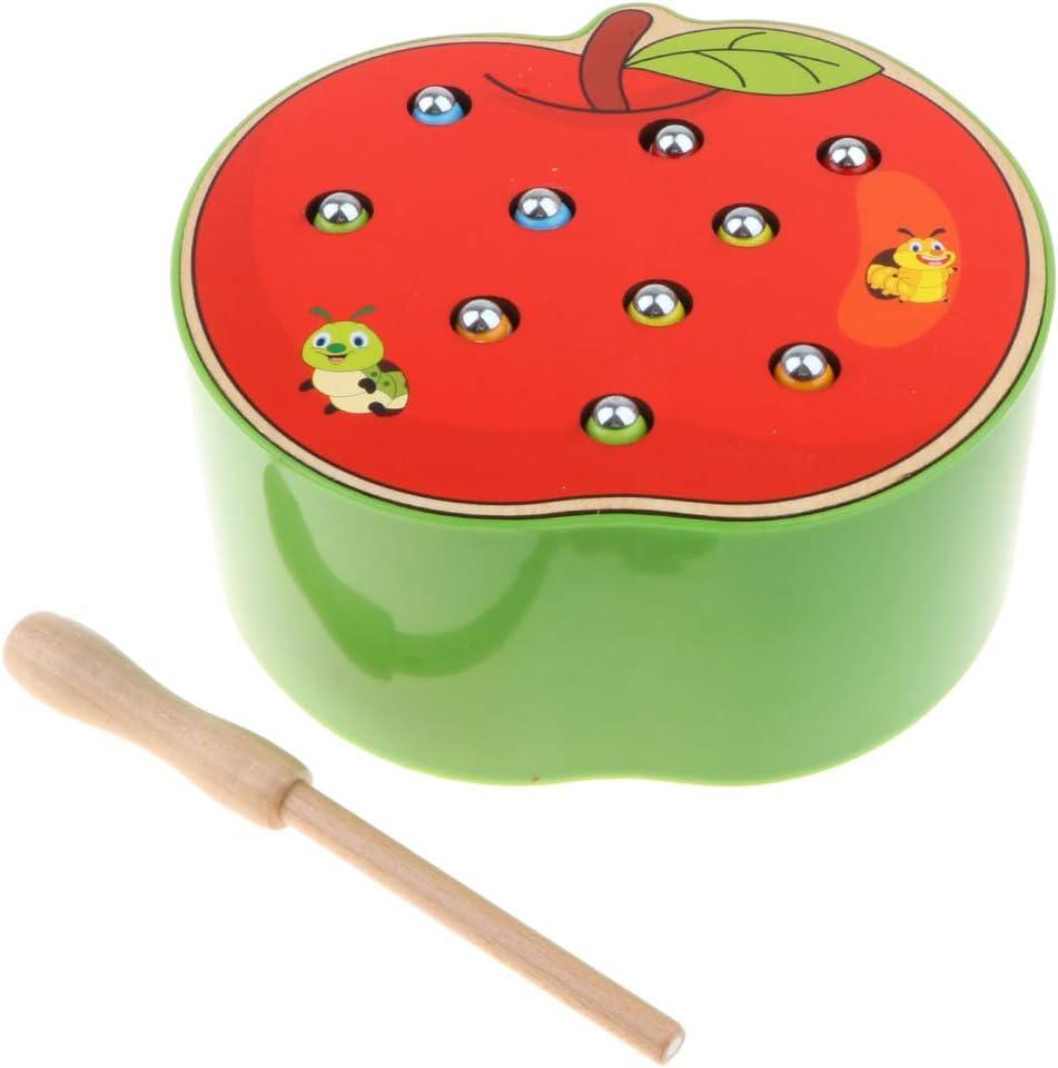 Sharplace Juguete Montessori de Madera Niños Juego de Captura de Orugas de Imán Forma Frutas - Manzana: Amazon.es: Juguetes y juegos