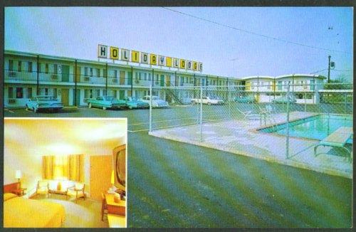 Holiday Lodge pool Salem OR 2-view postcard 1960s