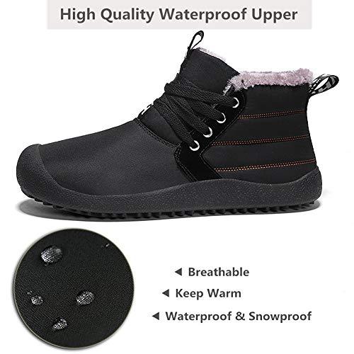 0d15052809a Neige Lacets Confort Yooeen Sneakers Bottines Classiques Chaussures Hautes  Fourrées Homme Noir À Imperméable Souples De Chaud ...