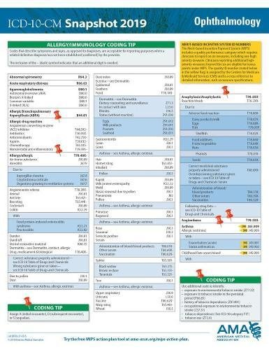 ICD-10-CM 2019 Snapshot Coding Card - Ophthalmology