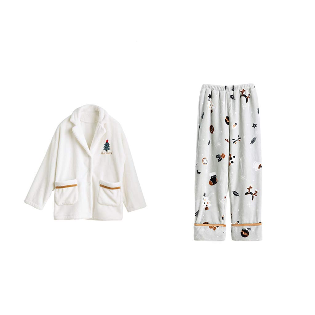 1 Lilomgjiao Women's Pajamas Set Button Cardigan Long Sleeve Home Service Set Loose Flannel Pajamas Set