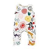 SHOBDW Girls Rompers, Baby Boys Cute Flower Animal Cartoon Plants Print Jumpsuit Outfits Newborn Pajamas Summer Sleeveless Clothes (12-18 Months, White)