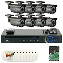 GW Security 8 Channel HD 2MP 1080P 2.8-12mm Varifocal Zoom Outdoor Indoor Bullet Security Camera System