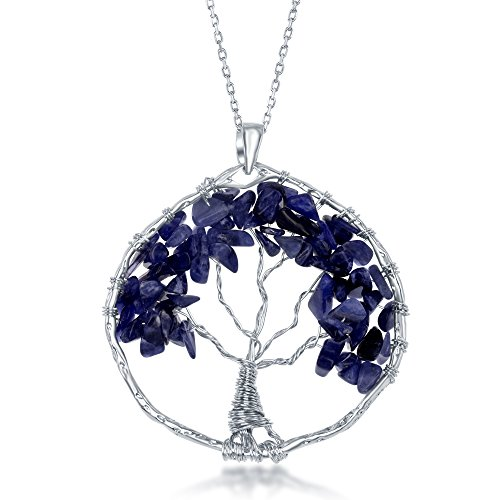 Sterling Silver Amethyst/Peridot/Citrine Natural Gemstone Beads Tree of Life 30 Pendant Necklace