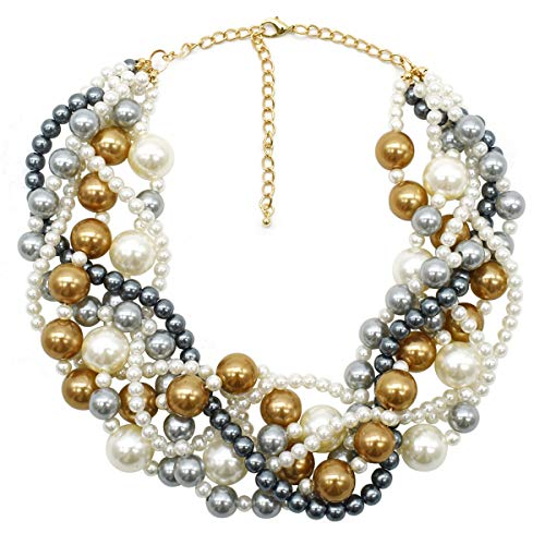 (MeliMe CIOOU Womens Imitation Pearl Twisty Chunky Bib Necklace Chokers for Wedding Party (Champagne/White/Grey))