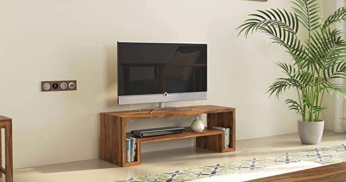 Riddhi Siddhi Home Decor Sheesham Wood Entertainment TV Unit for Living Room | Provincial Teak Finish