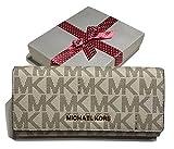 MICHAEL Michael Kors Jet Set Travel Carryall Clutch Wallet (Signature Vanilla/Acorn)