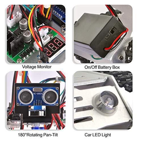 KOOKYE Robot Car Chassis + Robot Car Electronics Parts Kit Tank Platform Metal Stainless Steel 2DW Motor 9V for Arduino by KOOKYE (Image #3)