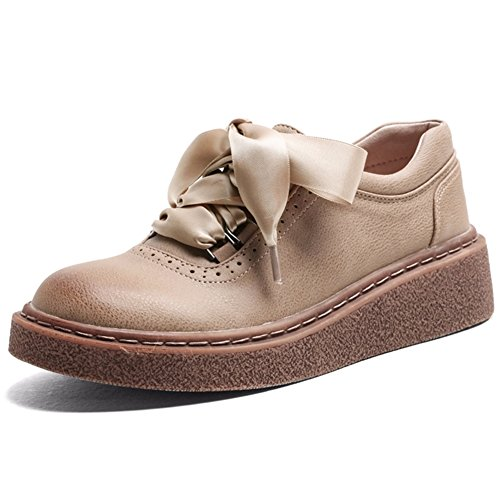 T-july Womens Classiques Chaussures Oxford - Confortable Semelle Plate-forme Lacets Bout Rond Chaussures Décontractées Abricot