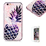 Funyye Crystal Rubber Case for iPhone 6,Luxury 3D Pineapple Pattern Slim Fit Flexible Soft Silicone Gel TPU Case for iPhone 6S,Anti Scratch Durable Shell Bumper Back Protective Case for iPhone 6/6S 4.7 inch + 1 x Free Screen Protector