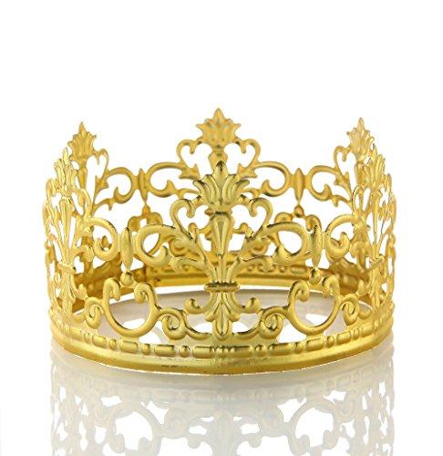 POKERGODZ Vintage Mini Princess Crown Cake Topper Small Wedding Birthday Party Decoration (Scrub Gold) by POKERGODZ