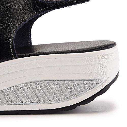 Dearwen Womens Shape-ups Läder Kilar Sandaler Plattform Klackar Svart