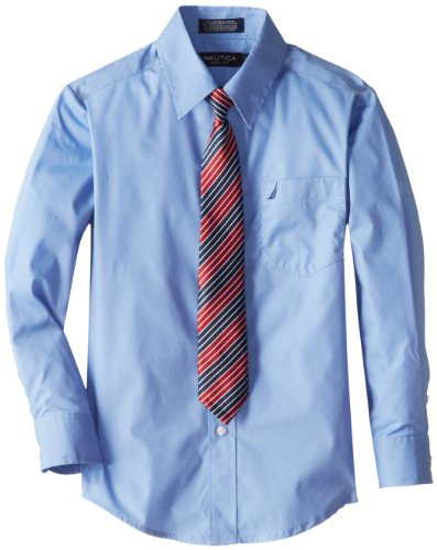 Nautica Big Boys' Basic Broadcloth Shirt Tie Set, Cornflower, 16 - Broadcloth Tie