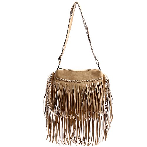 Leather Shoulder Waterproof Women Messenger Crossbody Purse Bag Travel Purse For Women Fashion BEKILOLE Coffee Bag Fringe Fringe Bag HqFBU