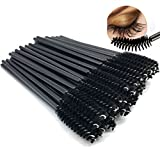 MAYMII 50 Pieces Disposable Eyelash Eye Lash Makeup Brush Mascara Wands Applicator Makeup Kits (Black)
