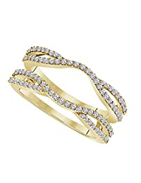 DreamJewels 0.50 Ctw 14K Yellow Gold Plated Round Cut White CZ Diamond Alloy Ladies Anniversary Wedding Band Enhancer Guard Double Chevron Ring