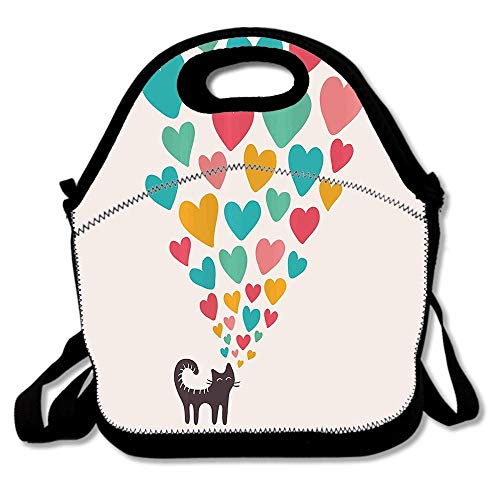 Cute Cat in Love with Different Size Hearts Happy Sweet Kitty Clipart Waterproof Reusable Lunch Bags For Men Women Adults Kids Toddler Nurses With Adjustable Shoulder Strap