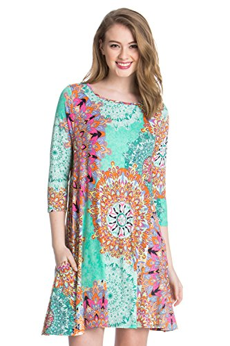 - Medallion Geometric Floral Casual Aline - 3/4 Sleeve Print Tunic Dress Limited (3X-Large, B7659SKAO Mint)
