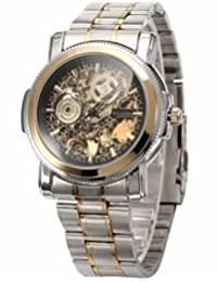 KS Golden Bezel Men's Black Dial Automatic Mechanical Skeleton Stainless Steel Watch KS138